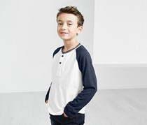 Kids Boy Henley Long Sleeves, Blue/White