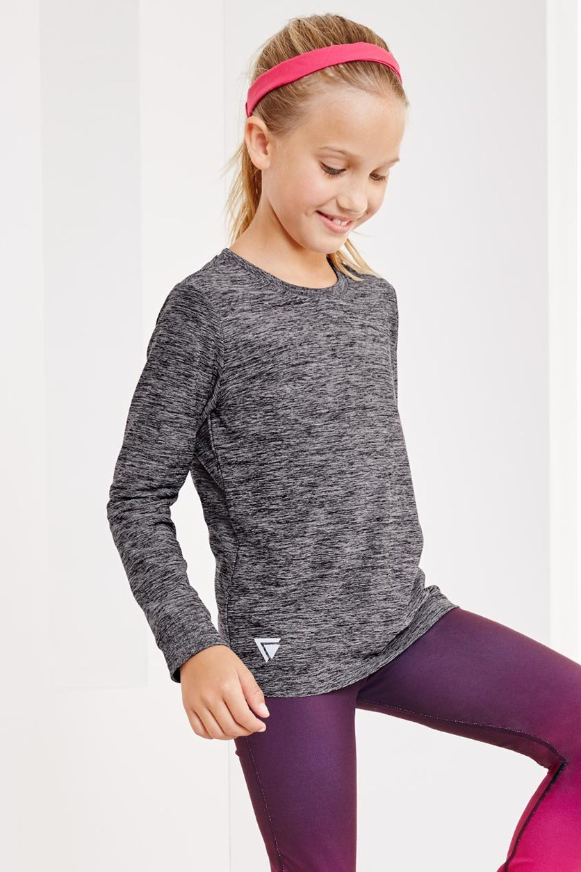 Girls Long Sleeve Functional T-Shirt, Bordered Gray