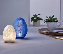 2 LED Deco Eggs, Silver White/Blue