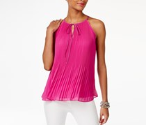 INC International Concepts Pleated Halter Top, Magenta Flame