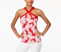 INC  Printed Halter Top, Red Lace Flowershop