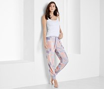 Women Leisure Trouser, White/Pink/Purple