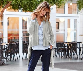 Women's Fine Knit Cardigan, Grey