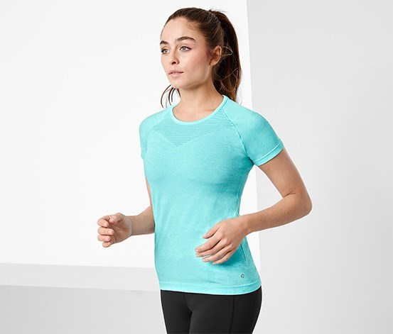 Women's Functional Seamless T-Shirt, Turquoise