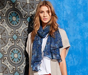 Women Woven Scarf with Print, Blue