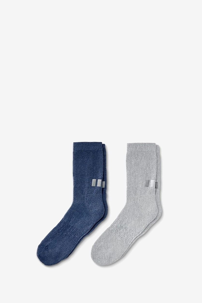 Men's 2 Pair Functional Socks, Grey/Blue