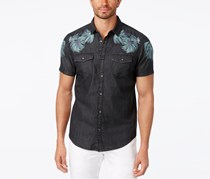 Inc International Concepts Men's Embroidered Denim Shirt, Deep Black