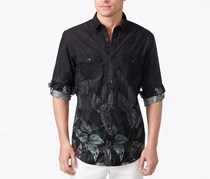 Inc International Concepts Men's Faded Leaf Print Shirt, Deep Black