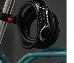 LED Steel Cable Bicycle Lock, Black