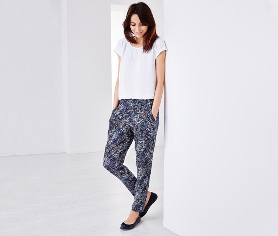 Women's Paisley Print Pants, Blue