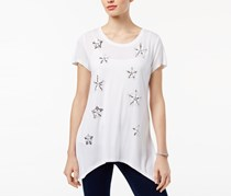 INC International Concepts Embellished T-Shirt, Bright White