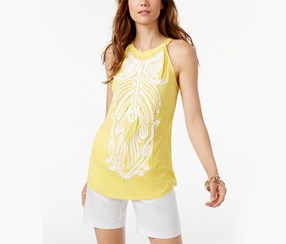 INC Soutache-Trim Halter Top, Primrose Yellow