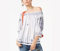 INC International Concepts Off-The-Shoulder Striped Top, Blue/White Stripe
