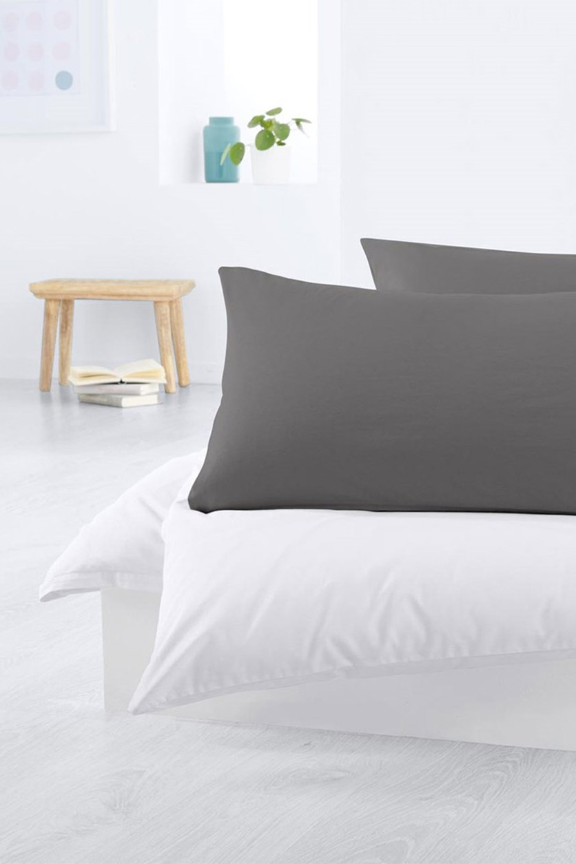 Jersey Pillowcase Set of 2 80 x 40 cm, Grey