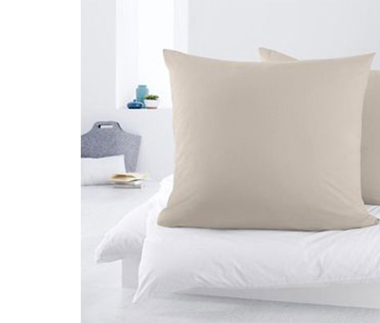 2 Jersey Pillowcases, 80x80 cm, Beige