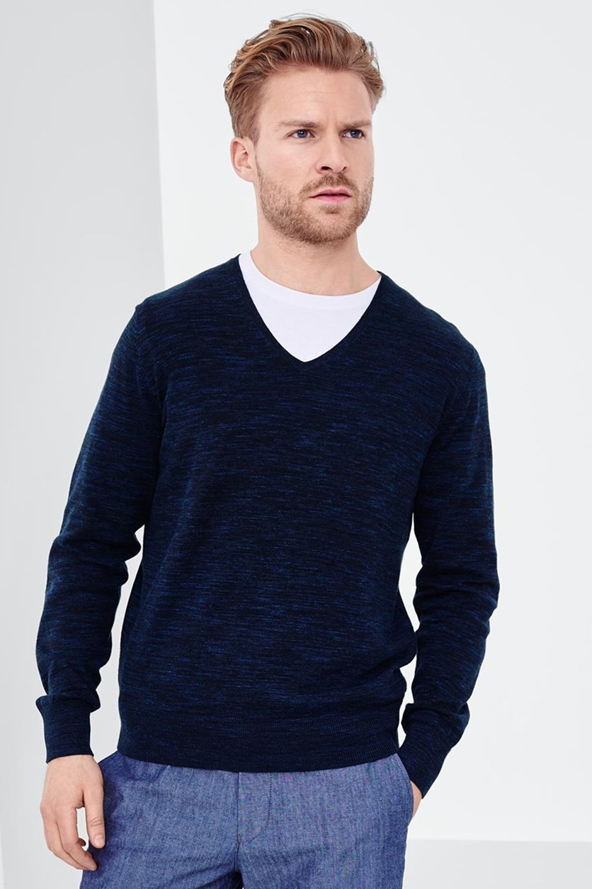 Men's Pullover V-Neck Sweater, Mottled Blue