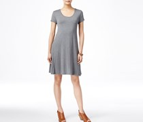 Style & Co Petite Short-Sleeve Casual Dress, Mid Heather Grey
