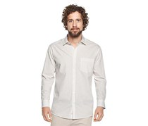 Men's Long Sleeve Shirt, White/Blue