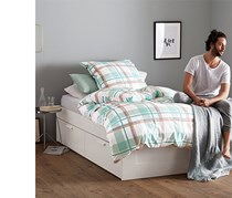 Jersey Duvet Set, White/Green