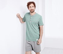 Men's Short Pajamas, Grey/Greem