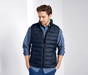 Double Sided Quilted Waistcoat, Blue Green