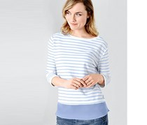 Women Sweatshirt Stripe, Blue/White