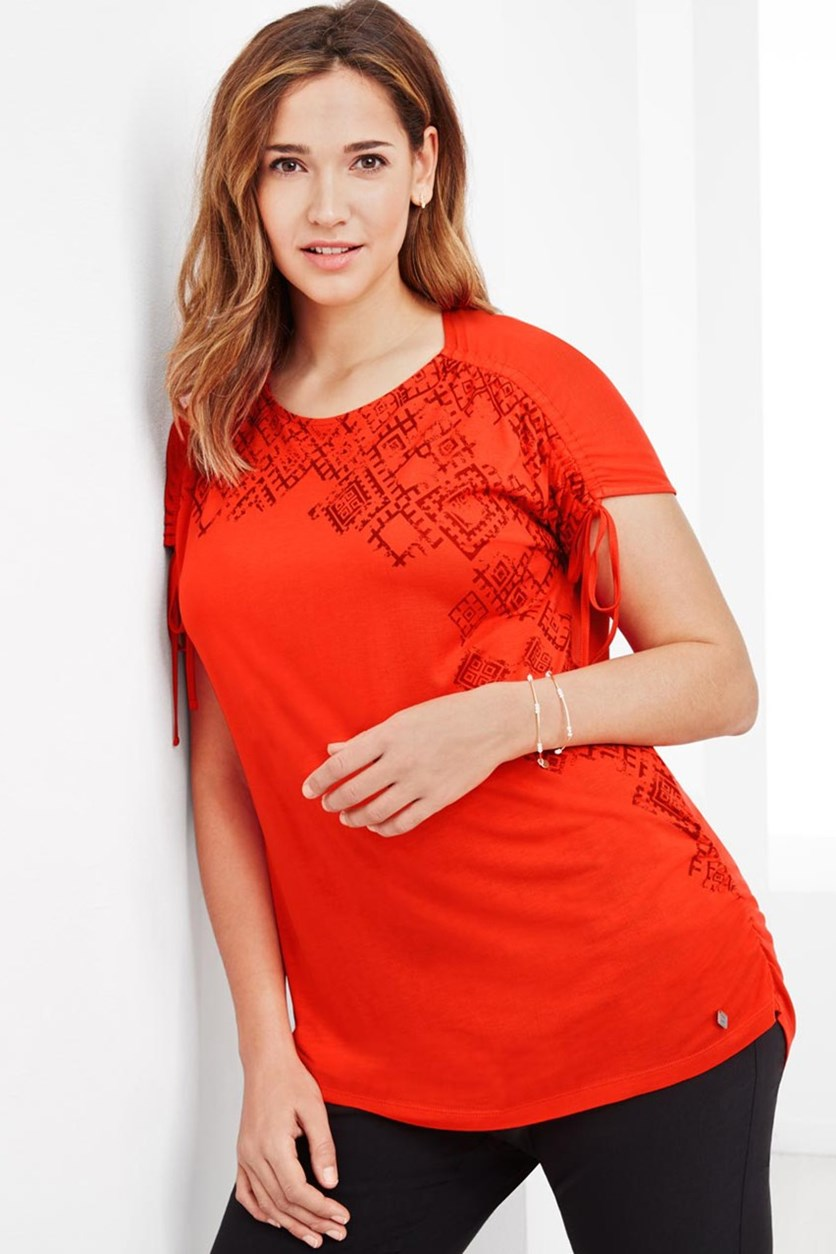 Women's Gathered Long Top, Orange