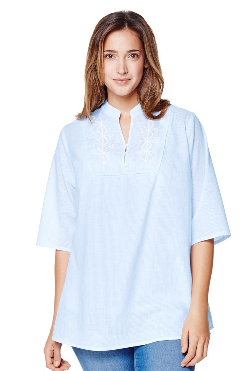 Women's Blouse, Light Blue Stripe