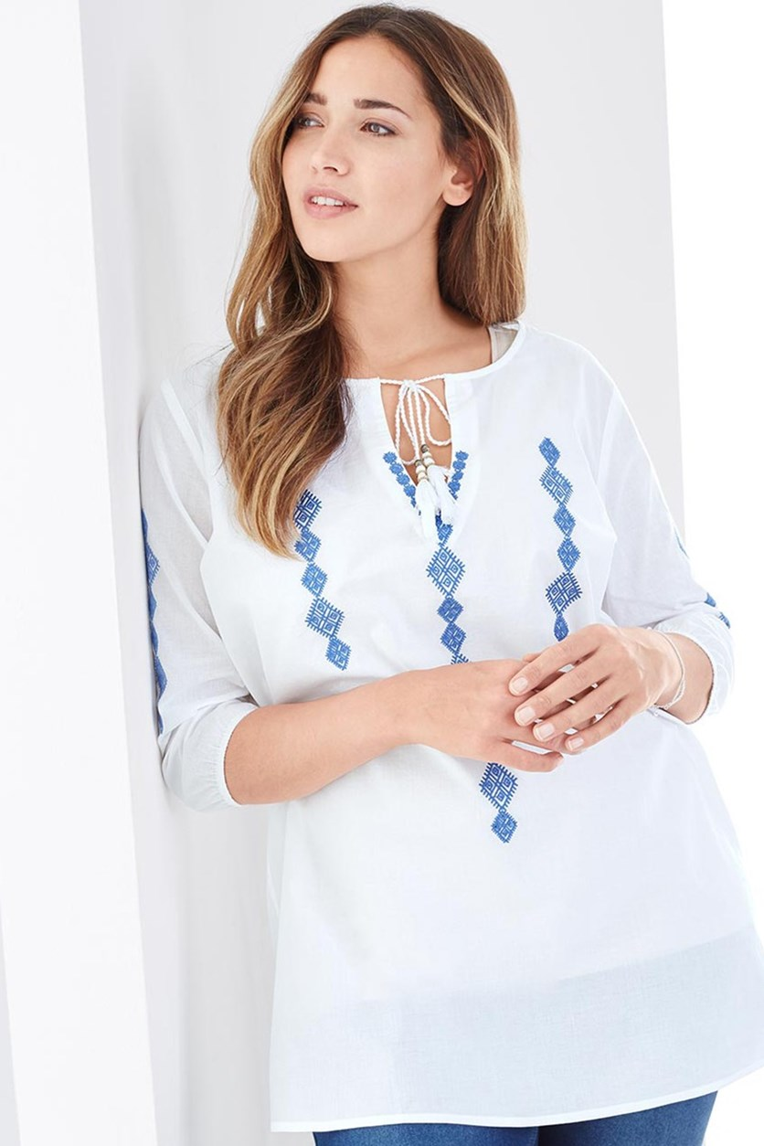 Women's Blouse With Embroidery, White/Blue