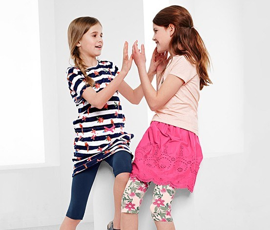 Girls 2 Leggings, Navy/Pink
