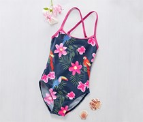 Girls Swimsuit, Navy/Pink