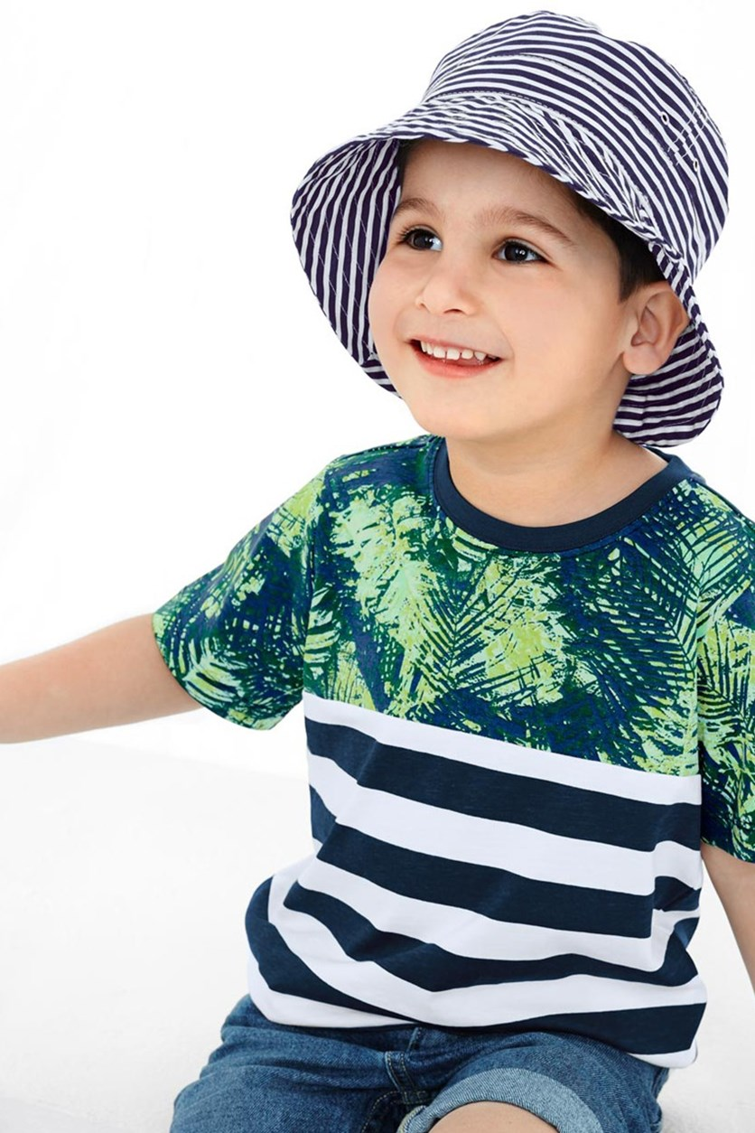 Boys Sun Hat, Blue/White