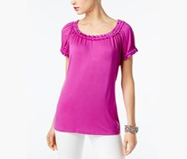 Inc Scoop-Neck Satin-Trim Top, Magenta Flame