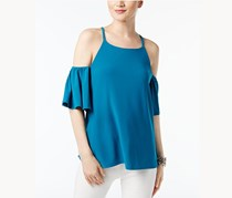 INC Womens Cold-Shoulder Flutter-Sleeve Top, True Teal