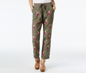 Women Embroidered Cuffed Drawstring Pants, Olive Drab