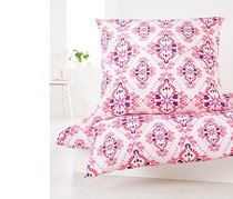 Percale Duvet Set 155 x 220 cm, Berry/White
