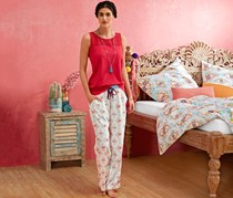 Women's Relax Pants, White Printed