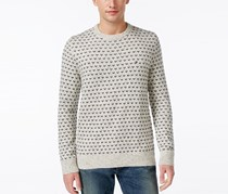 Men's Geometric Crew-Neck Sweater, White
