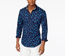 Tommy Hilfiger Men's Slim-Fit Pineapple Critter Embroidered Long-Sleeve Shirt, Navy Blue