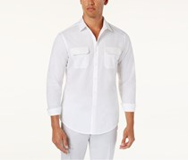 Inc International Concepts Men's Faux-Leather Trim Shirt, White