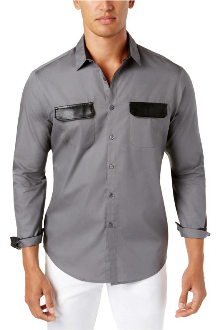 International Concepts Men's Faux-Leather Trim Shirt, Light Grey