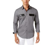 Inc International Concepts Men's Faux-Leather Trim Shirt, Light Grey