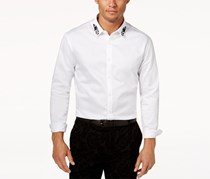 INC International Concepts Mens Embroidered Shirt, White Pure
