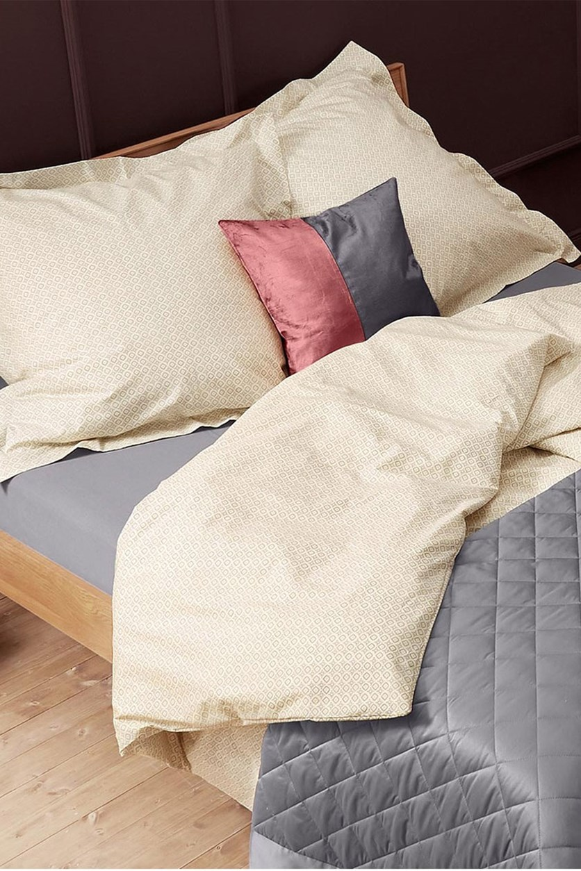Percale Duvet Set 135 x 200 cm, Light Grey/Sand