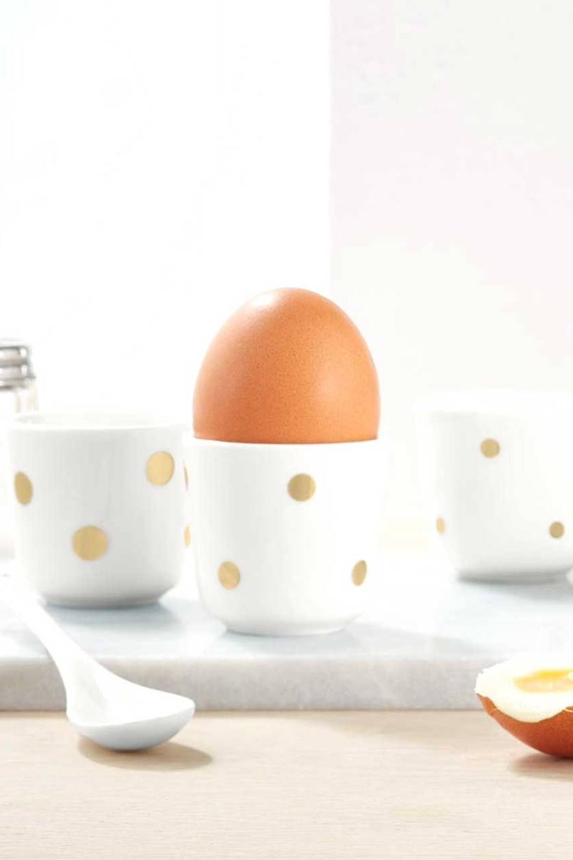 Egg Cup Set of 4, White/Gold