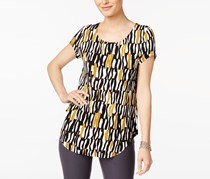 Alfani Women's Stripe Double Pocket Linen-Blend Shirt, Black/Gold