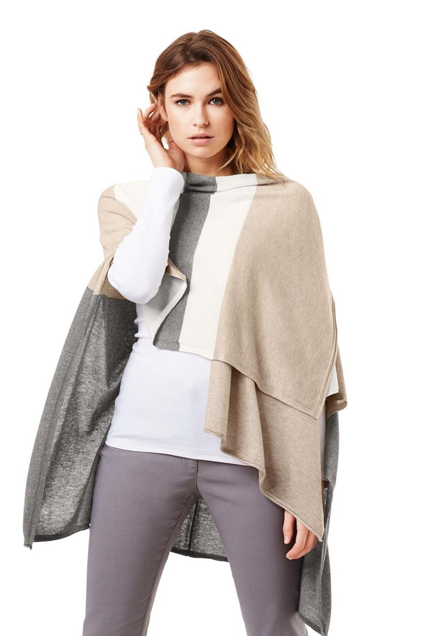 Women's Poncho, Taupe Combo