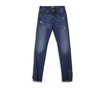 7 For All Mankind Girl's Laced Skinny Jeans, Blue