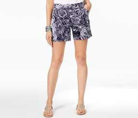 Inc International Concepts Regular Fit Printed Shorts, Navy/White