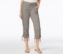 INC Womens Curvy-Fit Cropped Cargo Pants, Sky Grey